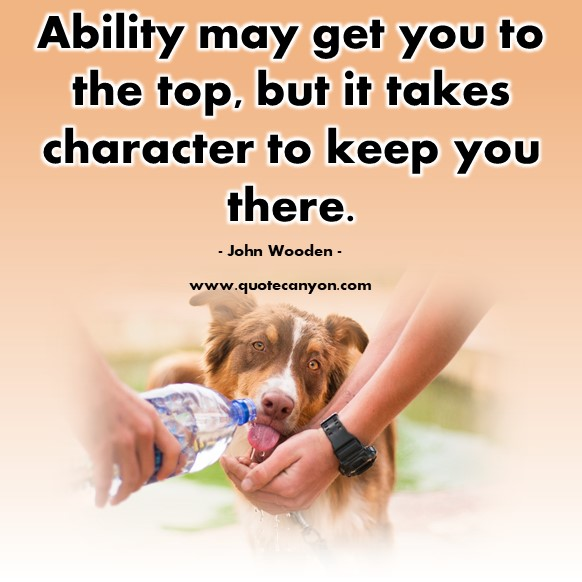 Famous inspirational quotes - Ability may get you to the top, but it takes character to keep you there - John Wooden