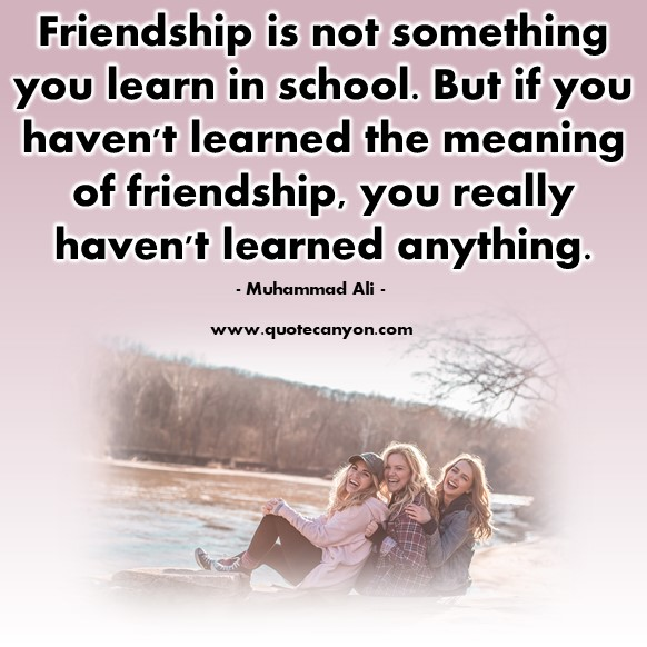 Friendship quote - Friendship is not something you learn in school - Muhammad Ali