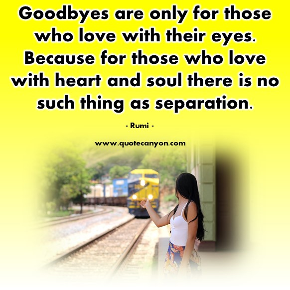 Famous love quotes - Goodbyes are only for those who love with their eyes - Rumi