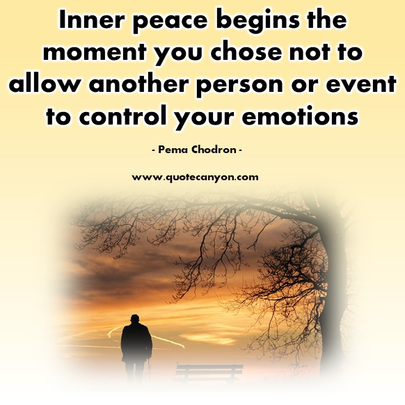 Famous sayings - Inner peace begins the moment you chose not to allow another person - Pema Chodron