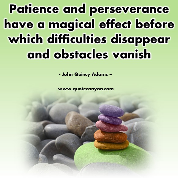 Famous sayings - Patience and perseverance have a magical - John Quincy Adams