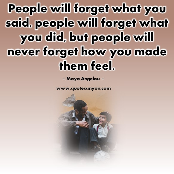 Famous quotations - People will forget what you said, people will forget what you did - Maya Angelou
