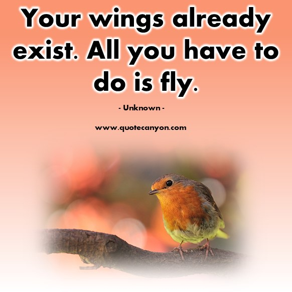 Famous quote - Your wings already exist. All you have to do is fly - Unknown