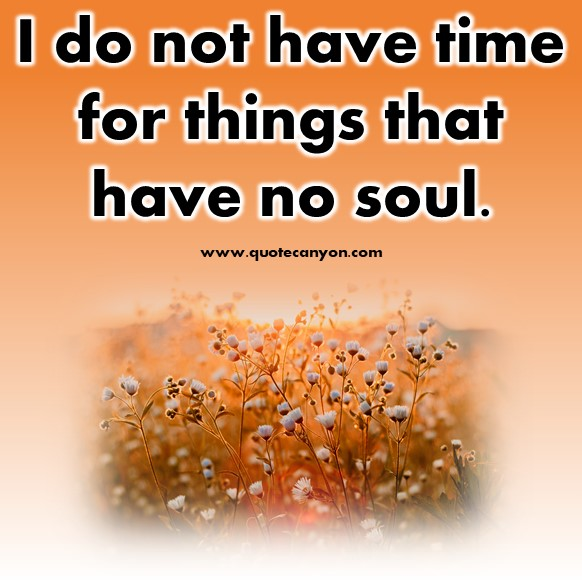 best short quotes - I do not have time for things that have no soul