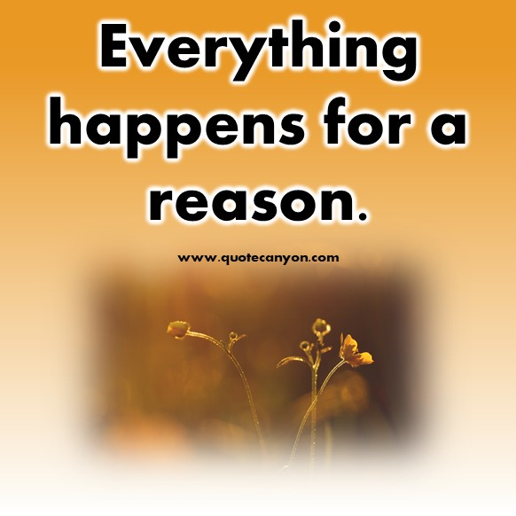 famous short quotes - Everything happens for a reason