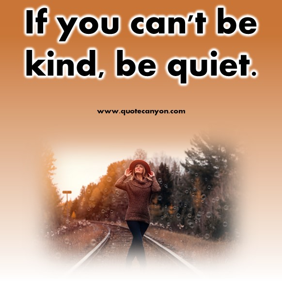 short inspirational quotes - If you can't be kind, be quiet