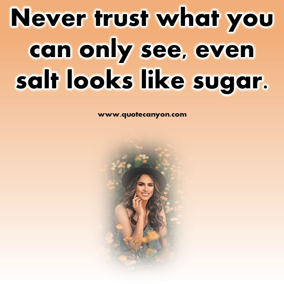 short inspirational quotes - Never trust what you can only see, even salt looks like sugar