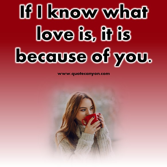 short love quotes - If I know what love is, it is because of you