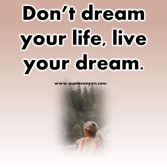 short meaningful quotes- Don't dream your life, live your dream