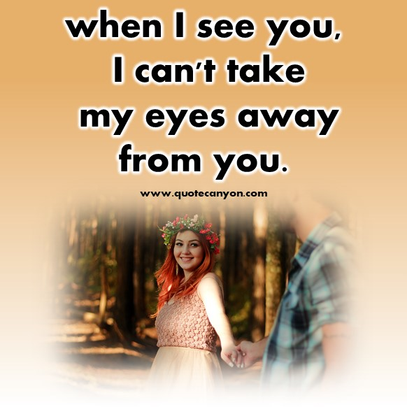 short quotes about love - when I see you, I can't take my eyes away from you