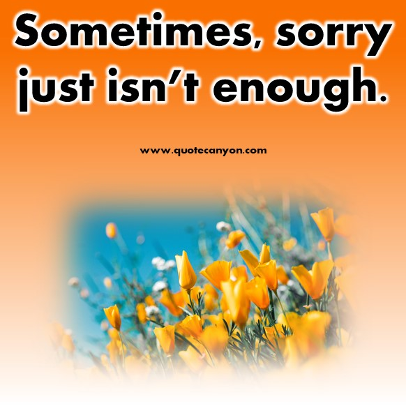 short sad quotes - Sometimes, sorry just isn't enough
