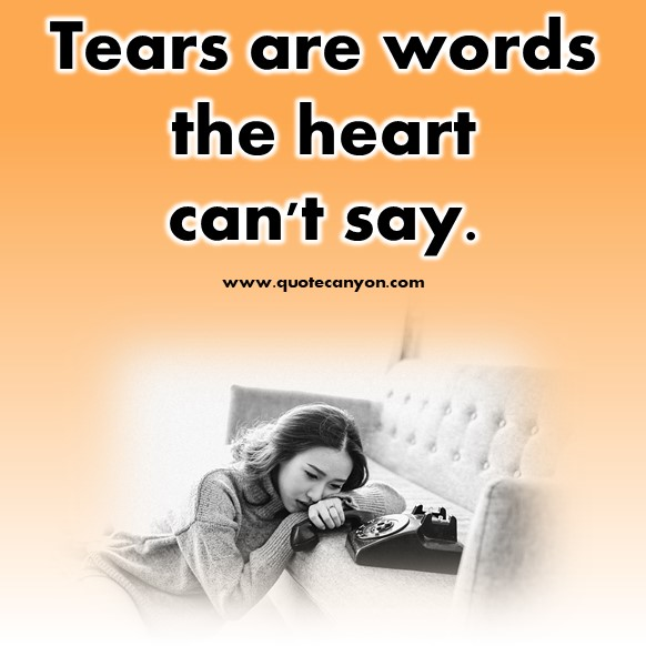 short sad quotes - Tears are words the heart can't say