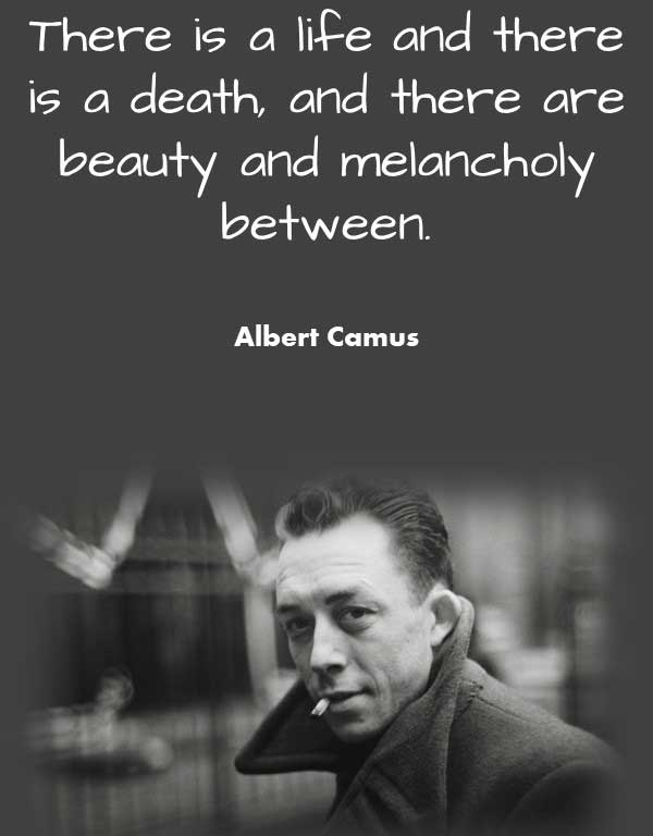 Philosophy Quote from Albert Camus that says There is a life and there is a death, and there are beauty and melancholy between