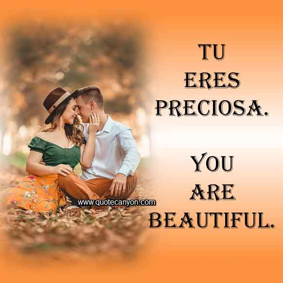 You are beautiful in Spanish that says Tu eres preciosa