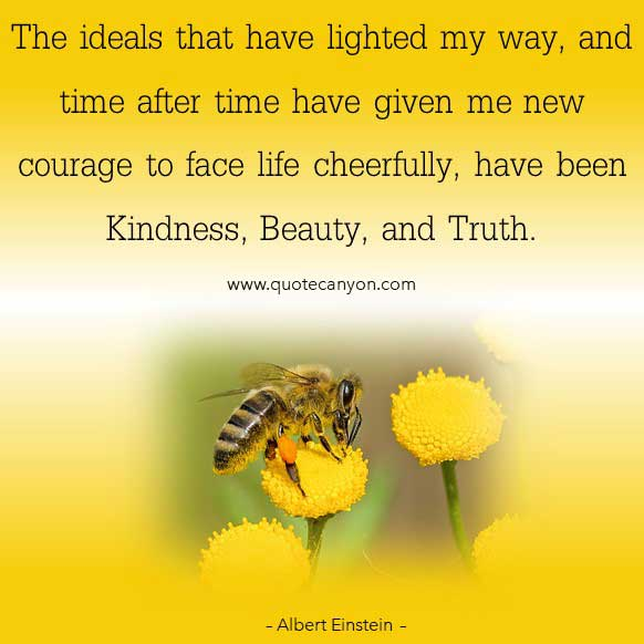 Albert Einstein Inspirational Quote that says The ideals that have lighted my way, and time after time have given me new courage to face life cheerfully