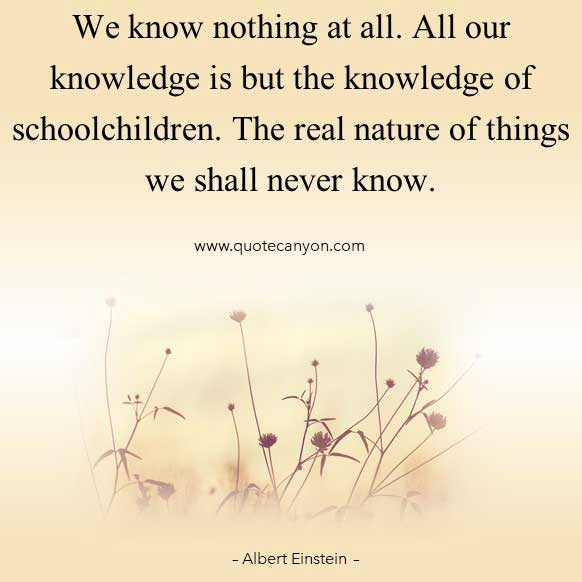 Albert Einstein Knowledge Quote that says We know nothing at all. All our knowledge is but the knowledge of schoolchildren
