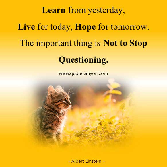 Albert Einstein Learning and Questioning Quote that says Learn from yesterday, live for today, hope for tomorrow. The important thing is not to stop questioning