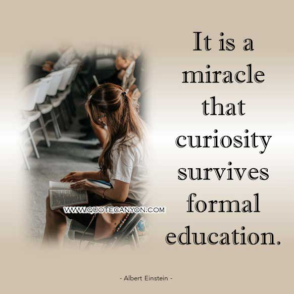 Albert Einstein Quote about Education that says It is a miracle that curiosity survives formal education