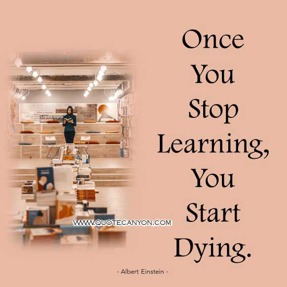 Albert Einstein Quote about Learning that says Once you stop learning, you start dying