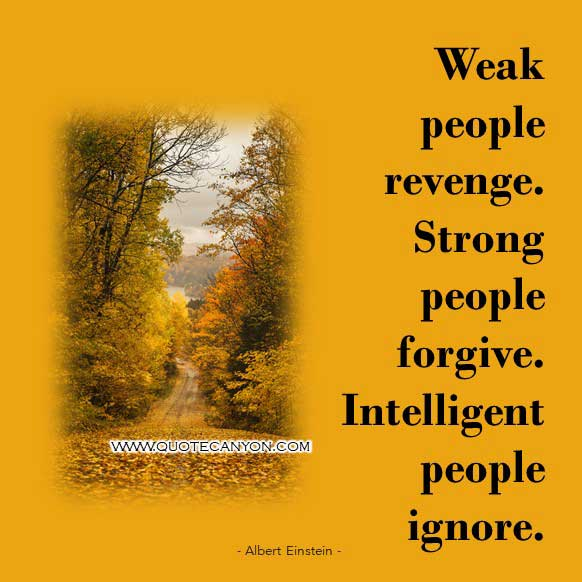 Albert Einstein Quote on Intelligence that says Weak people revenge. Strong people forgive. Intelligent people ignore