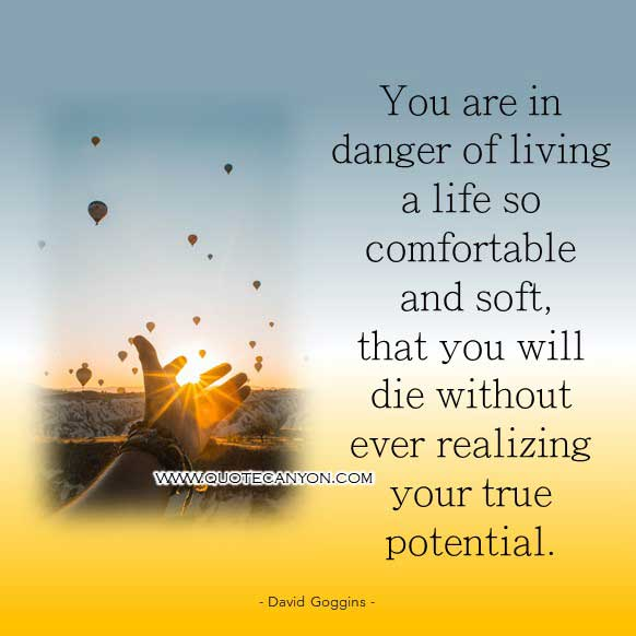 David Goggins Quote from Book that says You are in danger of living a life so comfortable and soft, that you will die without ever realizing your true potential.