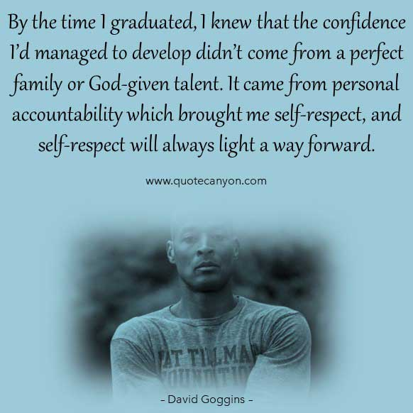 David Goggins mental toughness quote that says By the time I graduated, I knew that the confidence I'd managed to develop didn't come from a perfect family or God-given talent