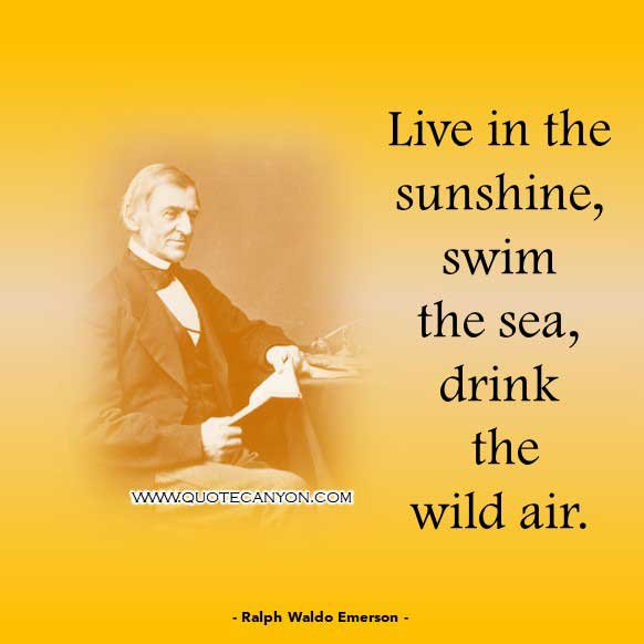Philosophical Short Quote from bye Ralph Waldo Emerson that says Live in the sunshine, swim the sea, drink the wild air