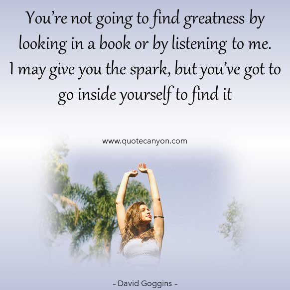 David Goggins life quote on success that says You're not going to find greatness by looking in a book or by listening to me. I may give you the spark, but you've got to go inside yourself to find it