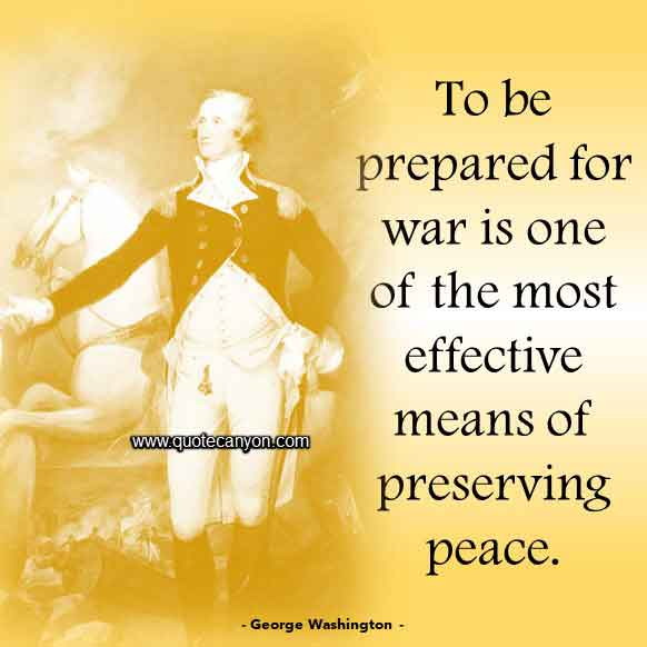 George Washington Quote on War and Peace that says To be prepared for war is one of the most effective means of preserving peace