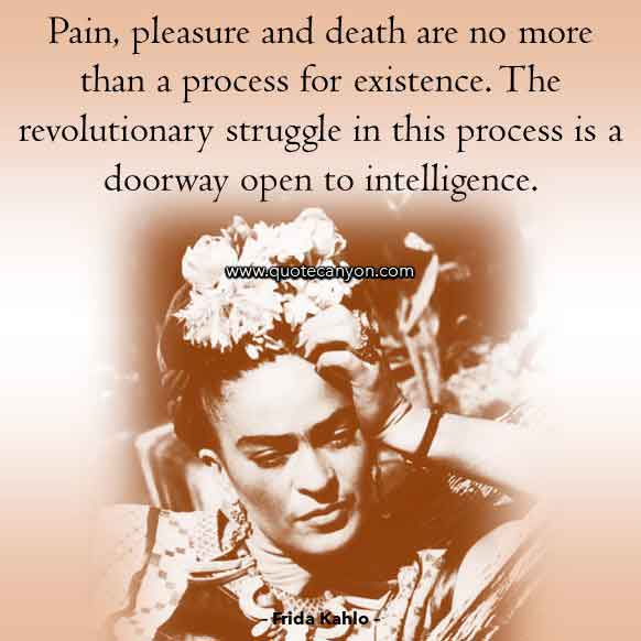 Pain Quote by Frida Kahlo that says Pain, pleasure and death are no more than a process for existence. The revolutionary struggle in this process is a doorway open to intelligence