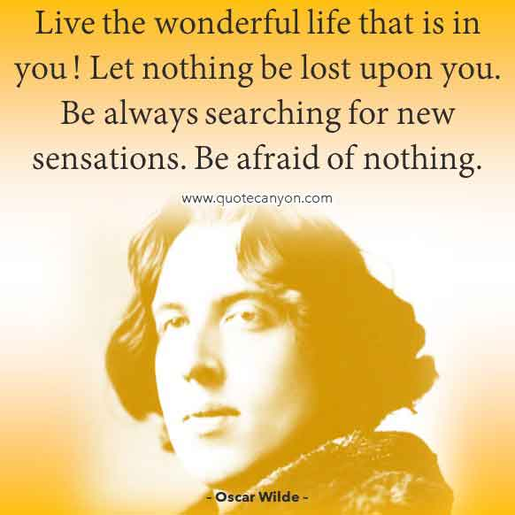 Dorian Gray Quote by Oscar Wilde that says Live the wonderful life that is in you! Let nothing be lost upon you